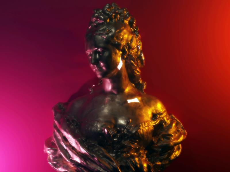 Old meets new art lighting design 3d blender statue bust