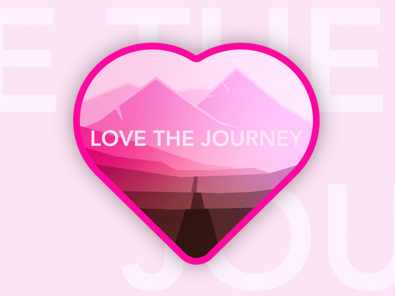 Love the Journey heart mountain road careers gradient vector branding illustartor illustration design