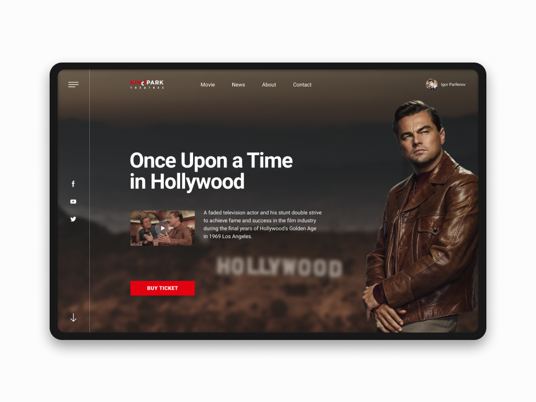Concept with 9th Quentin Tarantinos film figma design ui web ux