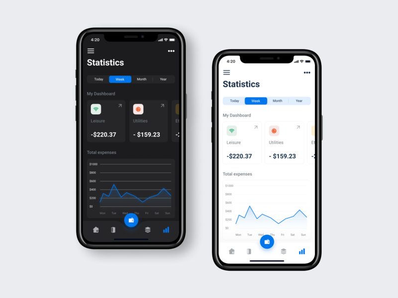 Smart home app (With dark mode screen)