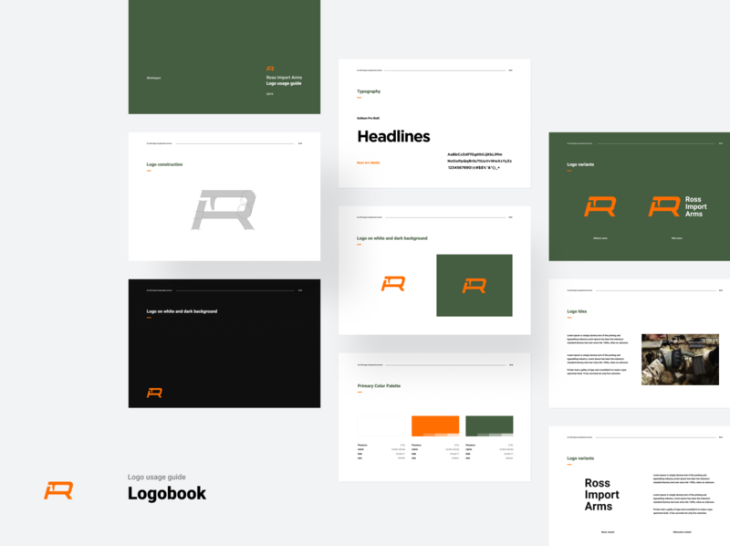 "Logobook for ""RossImportArms"" gun shop"