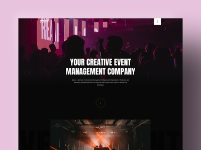 Event Management Landing Page black dark ui design figma landingpages management event colors landing page ui website landingpage landing