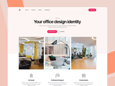 Office Interior Design Company - Landing Page furniture office space uiux design website web ui minimal light pink landing page landing interior office design office