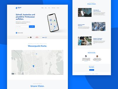 💧 Webdesign | Free Water Map web madewithxd branding blue minimalistic app map web app webdesign ux design ux ui design
