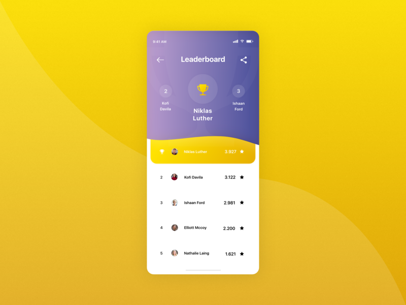 #DailyUI 19 | Game Leaderboard icon clean minimalistic colorful madewithxd adobexd leaderboard game purple yellow dailyui 019 dailyuichallenge dailyui ui design ux design ux ui mobile app