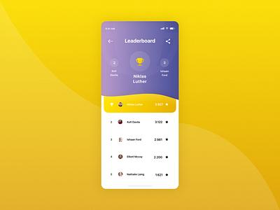 #DailyUI 19 | Game Leaderboard icon clean minimalistic colorful madewithxd adobexd leaderboard game purple yellow dailyui 019 dailyuichallenge dailyui ui design ux design ux ui mobile app