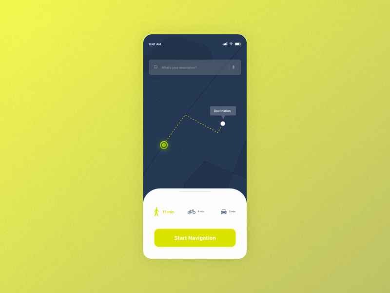 #dailyUI 20 | Location Tracker niklas luther madewithxd adobexd destination route map gps location tracker lime green ui design ux ui ux design dailyui 020 dailyuichallenge dailyui mobile app