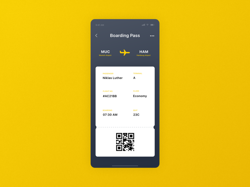 #DailyUI 24 | Boarding Pass airline flight boarding pass typography design orange yellow colorful clean mobile madewithxd adobexd dailyui 024 dailyuichallenge dailyui ui design ux design ux ui app