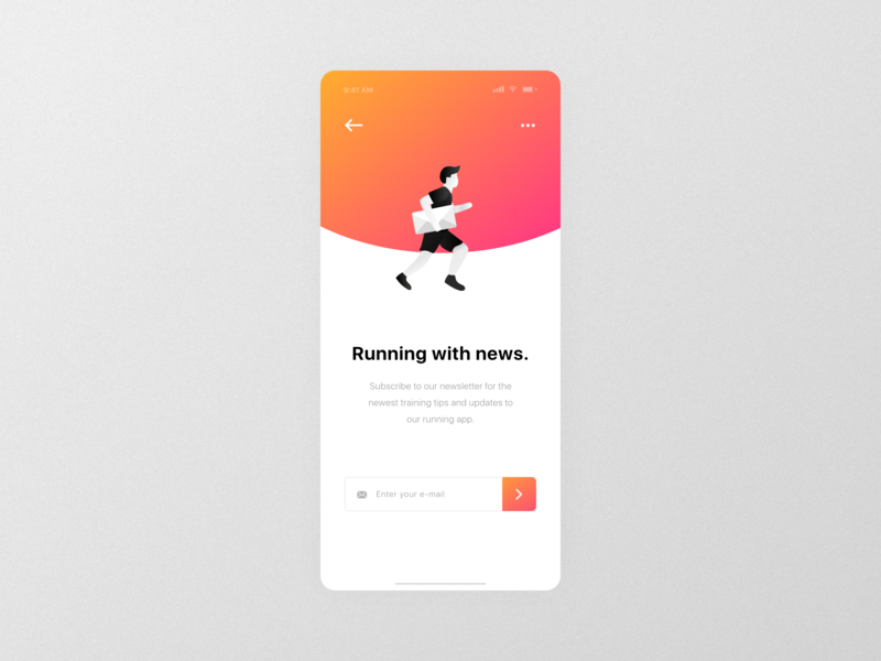 #DailyUI 26 | Newsletter Subscription design red orange flat minimalistic vector clean illustration colorful madewithxd adobexd mobile ux design ui design dailyui 025 dailyuichallenge dailyui ux ui app