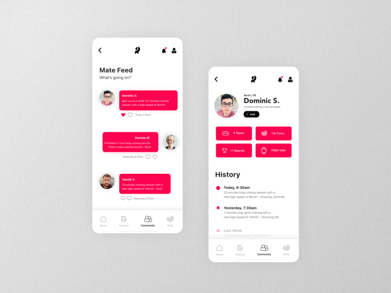 Running App | Community Concept whitespace red colorful adobexd madewithxd clean minimalistic ui design mobile ux design design app ux ui