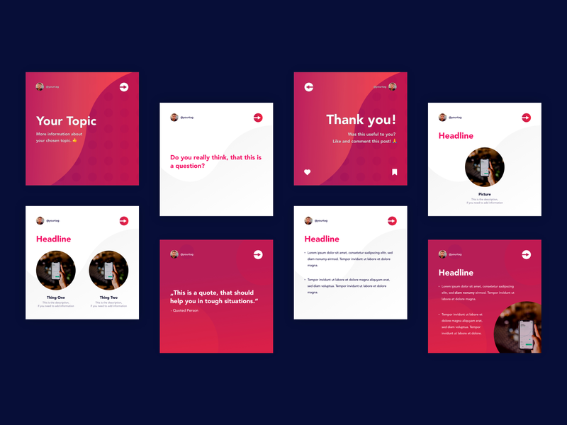 »Instart« Instagram Kit | »Fluid Theme« Concept theme template icons square branding warm colorful gradient wavy fluid instagram template instagram