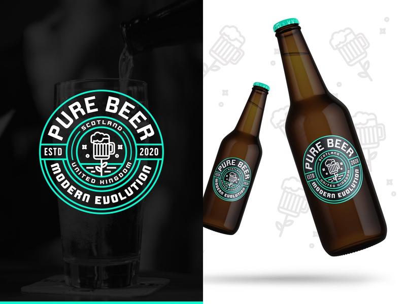 Pure Beer Branding Concept 🍺 teal natural pure vintage logo typogaphy badgedesign badge logo badge design brewery craft beer beer label design beer labels beer art beer can beer label beer bottle beer branding beer badge branding