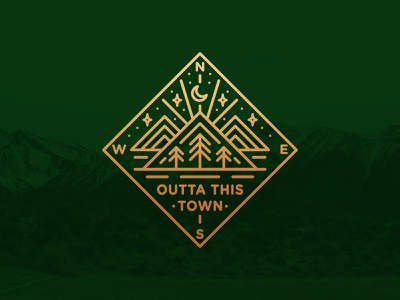Outta This Town Compass Badge 🧭⛰️🌲✨ compass badge compass symetrical simplistic typography nature badge line art mountians badge badgedesign vintage badge badge