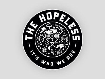 The Hopeless Slipmat Badge creative logo music creativity creative creativity logodesign logo brand identity brand design branding typogaphy badge design badge logo badgedesign masot design record mascot badge record vinyl music industry music