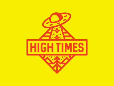 High Times  🛸 flying saucer spaceship stars mounains exploration space ufology open minds ufo badge badges badge parkle mystery conspiracy alien stoner cannabis weed ufo aliens