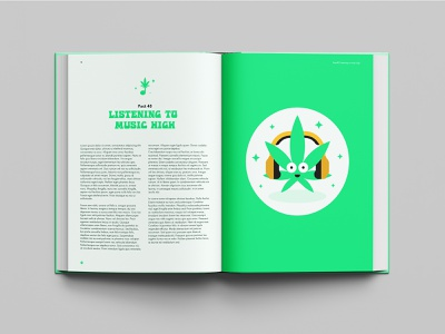 Stoner Book Layout Design 🎵🌿 medicated medicine branding style design music cannabis mascot mascot doublespread bookdesign layoutdesign layout book herb green marijuana cannabis weed stoner