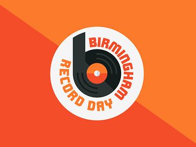 Birmingham Record Day b logo mark bold logo bold font bold modernism music badge record player vinyl badge record badge vinyl record