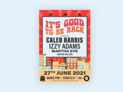 It's Good To Be Back Poster 🏖️ diy hippie acoustic emo punk music live music brighton concert gigposter gig poster poster art posters poster design typography poster