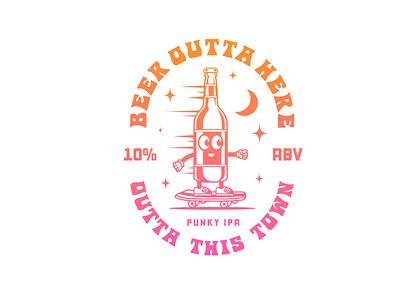 BEER OUTTA HERE 🍺🛹✨ hippie typography badgedesign badge logo vintage badge badge punkrock skaters punk rock beer badge brewery skateboarding art ipa beer skater skateboarding