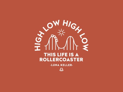 High Low High Low Badge 🎢 merchandise lockup type rides vintage badge rollercoaster ui identity logo design logo illustration typography branding badge