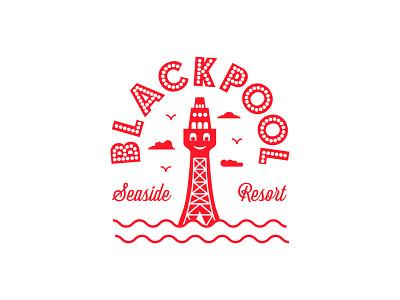 Blackpool Seaside Resort 2021 vacation holiday sand sea sun blackpool tower illustration lockup badge design badge seaside badge uk seaside seaside blackpool