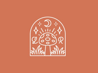 Lucy Roberts Badge 🍄🌱✨🌙 illustration logo badge design plant nature crystal magical wanderlust sparkle stars mystical badge mushroom badge mushroom