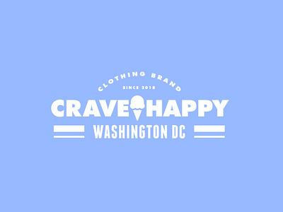 Crave Happy Clothing Lockup Exploration vector design identity logo logo design badge illustration branding ice cream typography lockup