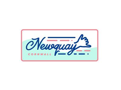 Newquay Cornwall dude seaside nature life print sticker badge design shaka badge sea beach surfing culture skate radical rad shaka surf newquay cornwall