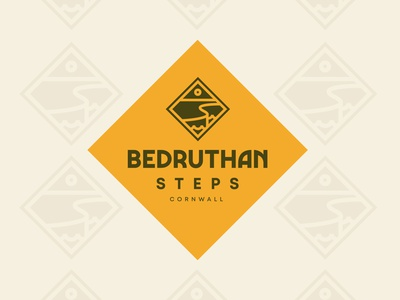 Bedruthan Steps Cornwall bold lines combination creative fun illustration newquay national trust sun ideas typography colour identity bold mark cliffs cornwall badge