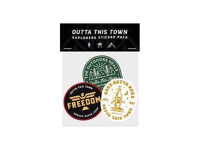 Outta This Town Explorers Sticker Pack logo design logo illustration typography branding sticker design art badge print merchandise sticker pack sticker