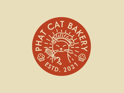 Phat Cat Bakery Badge logo identity fun cookery food baking cats cat bakery bakery badge bakery cat badge badge cat