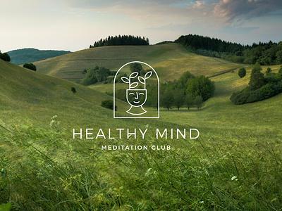 Healthy Mind Meditation Club logo mind mindfulness meditation mark badge nature