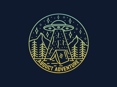 Abduct Adventure Badge logo illustration branding space explore mountains camping handdrawn adventure ufo aliens