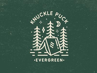 Knuckle Puck Evergreen Illustration evergreen pine tree explore pop punk band adventure illustration branding stars camping tree