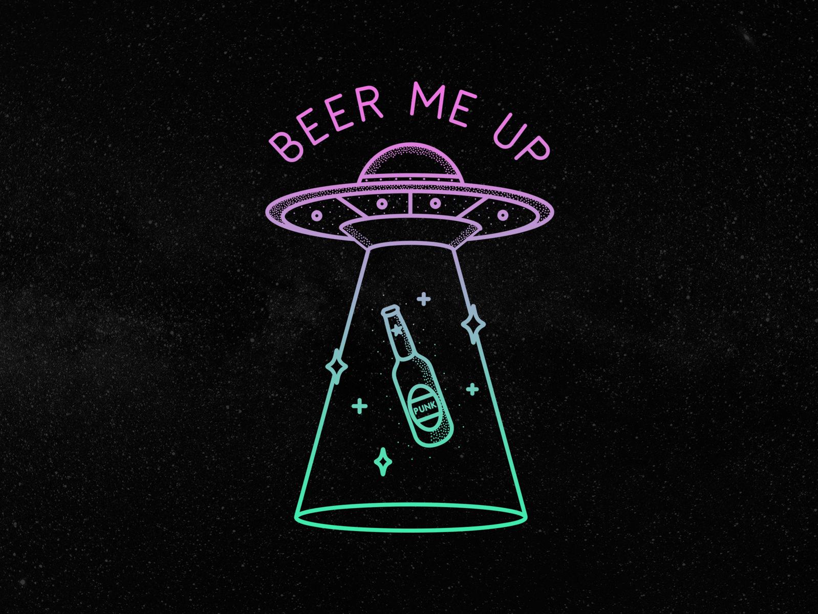 Beer Me Up 🛸🍺 spaceship space martian alien design branding badge identity logo design logo flash tattoo illustration dotwork flying saucer conspiracy alcohol beer aliens ufo