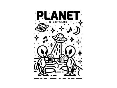 Planet Nightclub 👽🌌✨🛸 the moon clean identity logo design typography branding illustration stars planets planet flying saucer ufos aliens uk space nightclub ufo alien