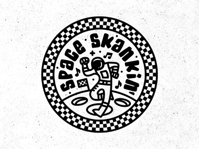 Space Skankin' 🕴️🏁 spaceman typography fun space history music skank badgedesign badge punk unity 2tone lessthanjake skapunk ska