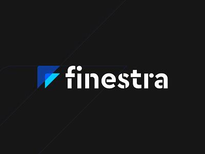 Finestra Logo home renovations mark logomark contractor carpenter construction blue triangle logo finestra
