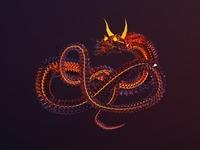 Fire Dragon, 3d illustration.