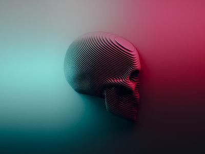 Sliced style skull.
