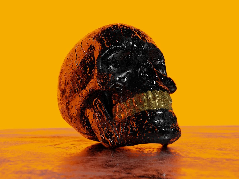 Skull 3 water drops rain glow color neon skull art skulls skull a day skull abstract 3d