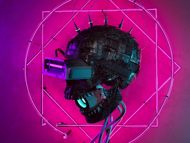 Cyber Skull 2077 3d Artwork Phone And Desktop 4k Wallpaper By Eduard Leszczynski On Dribbble
