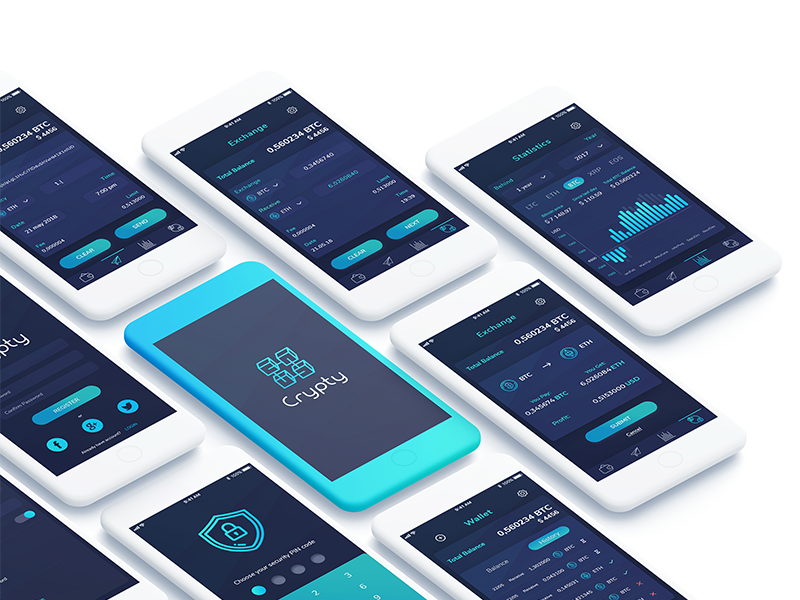 Crypty - Amazing Crypto wallet. bright dark concept app wallet crypto mobile ui ux