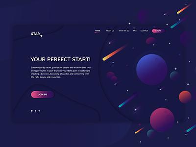 StarT - Your perfect stellar start. banner bright illustration ui cosmic inspiration web