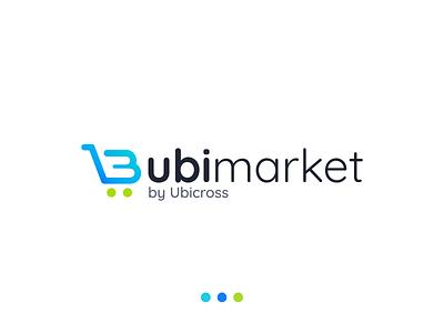 Ubimarket logo design branding blue cart logodesign logo ecommerce ubimarket ubicross market