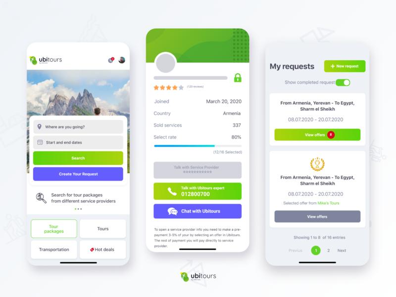 Traveling services finder mobile app profile offer request hot deals green mobile app tour travel ubitours