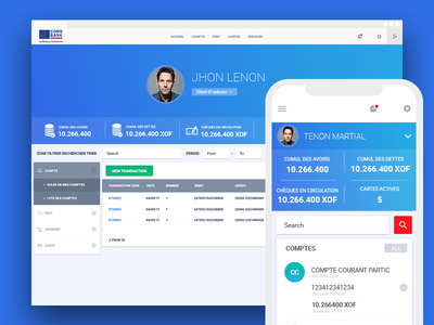 Dashboard for e-banking blue transfer money payment banking ui dashboard