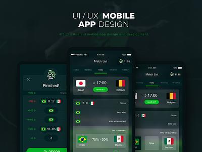 Sports app UI/UX design android ios ui world cup football sports mobile app mobile app ux design ui deisgn sports betting
