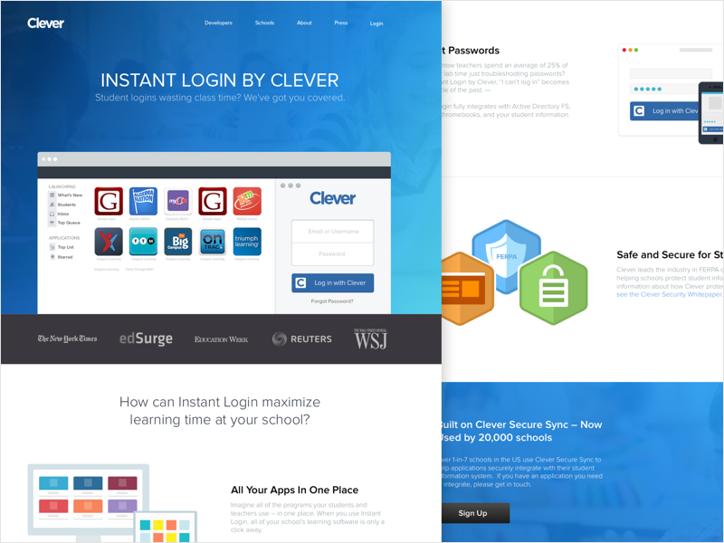 Clever Homepage  startup redesign product education homepage creative web site ux ui team page company