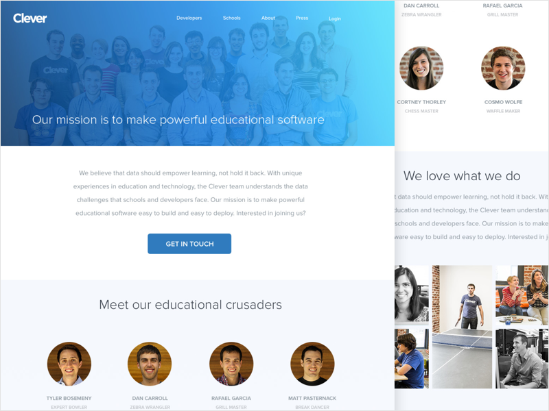 Work Clever About Grid startup redesign product education homepage creative web site ux ui team page company